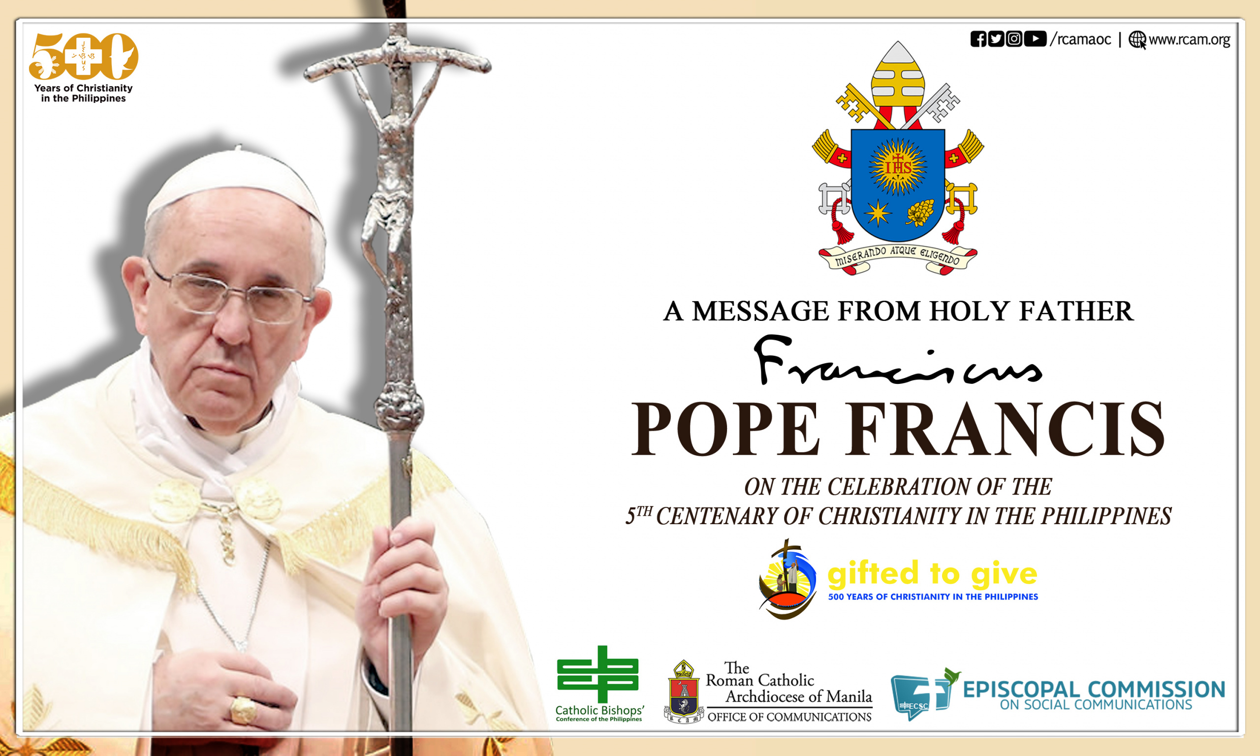 Message of Pope Francis for the Jubilee Celebration of 500 Years of Christianity in the Philippines