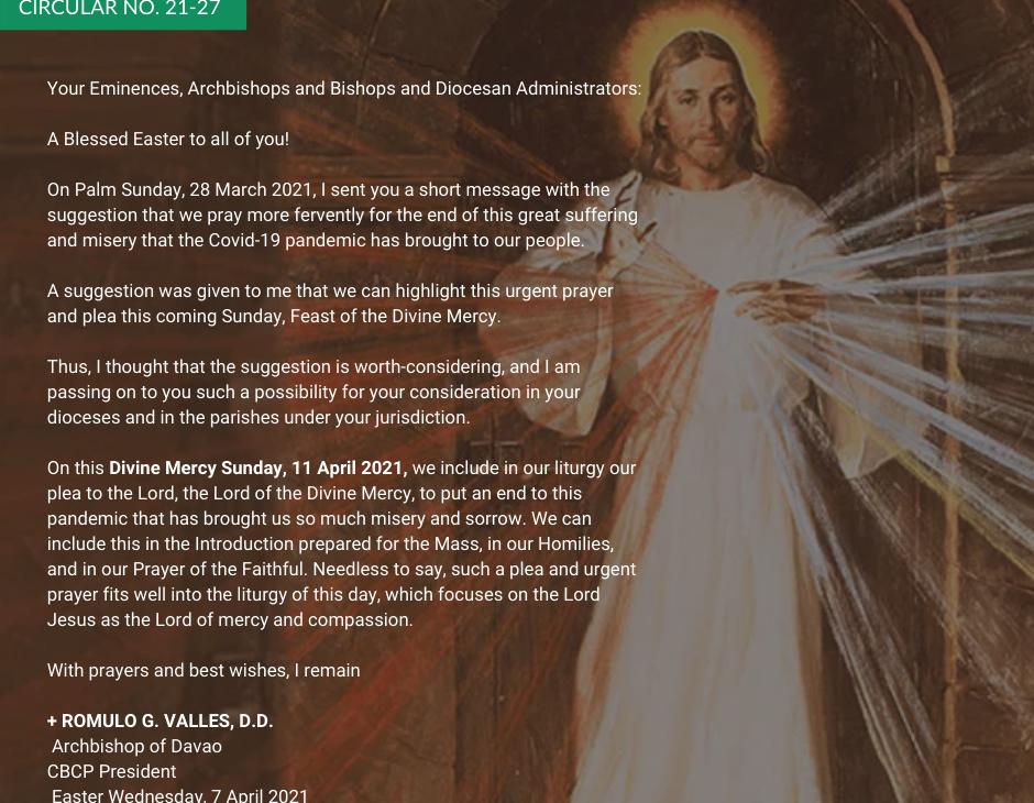 CBCP circular for Divine Mercy Sunday