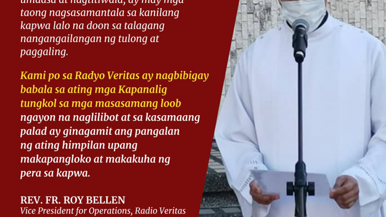 """Public warned against scammers using Radio Veritas for """"healing services"""""""