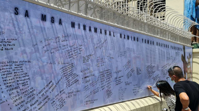 Quiapo Church puts up Memorial Wall for those who died of COVID 19