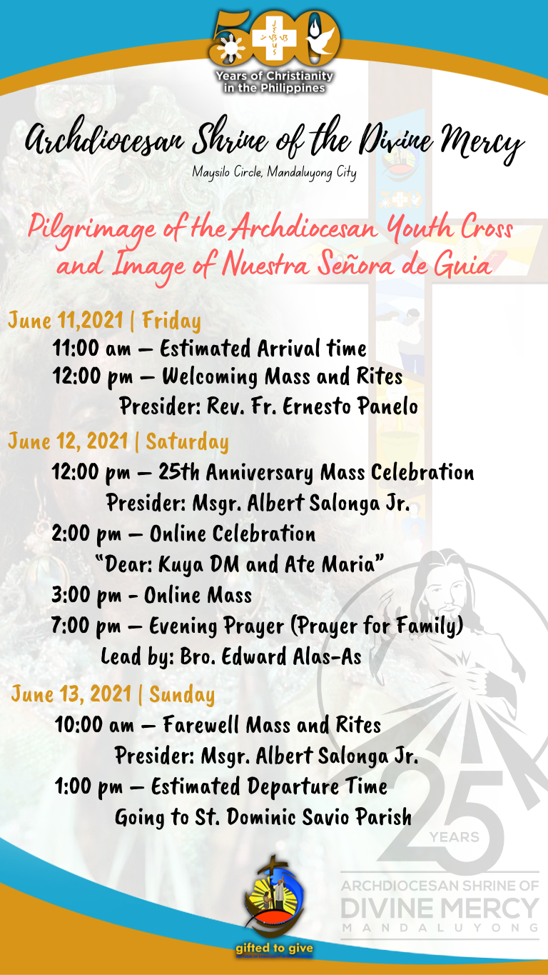 Youth Cross and Pilgrim Image of Nuestra Senora de Guia at the Archdiocesan Shrine of Divine Mercy