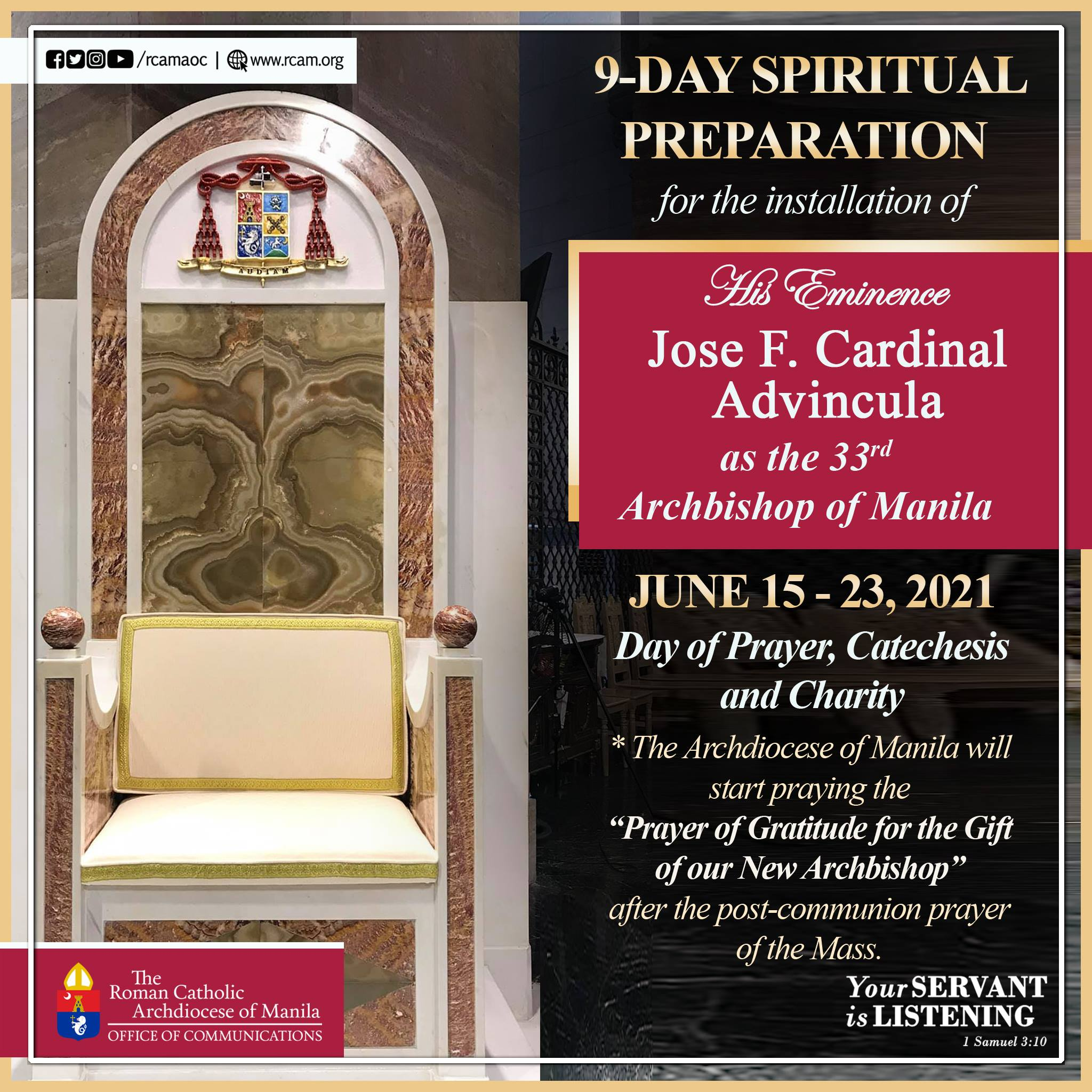 9-day Spiritual Preparation for the Installation of Cardinal Advincula
